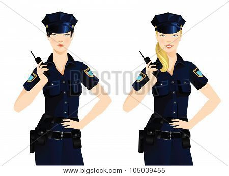 Beautiful policewoman in uniform.