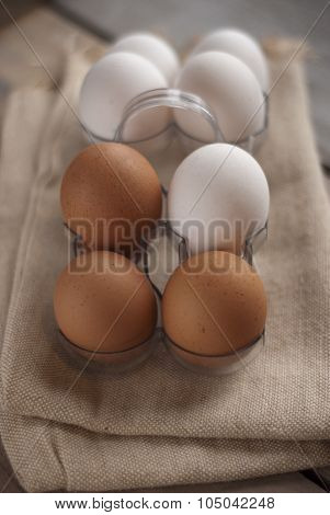 Eggs on textured mat