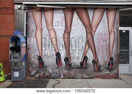 new york street art,beautiful legs painting