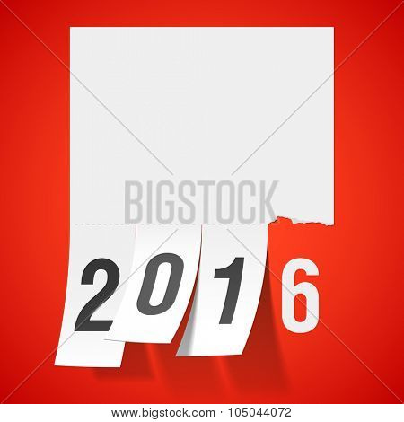 New Year 2016 greeting card with tear off tabs. Vector.