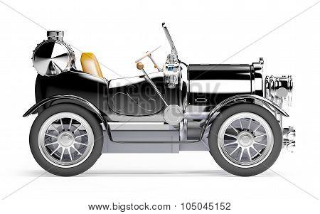 1910 black retro car side view