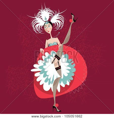 French Cancan Dancer. Cabaret Girl.