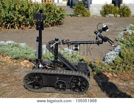 Kiev, Ukraine,  Michael's Square, October 16, 2015. The exhibition of military equipment, on the Day of Defender of Ukraine. Remote-controlled robot for bomb deactivation