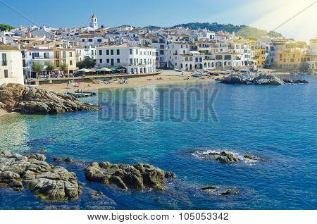 White Houses On Seaside. Coastal Town Calella De Palafrugell On The Costa Brava, Region Of Northeast