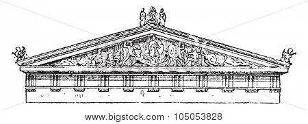 Acroterion, pediment of the temple of Aegina, vintage engraved illustration. Dictionary of words and things - Larive and Fleury - 1895.