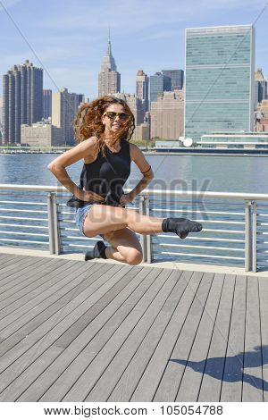 Girl Performing Irish Dance Jump At Manhattan