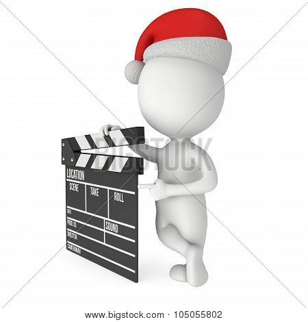 Santa With Cinema Clapperboard.