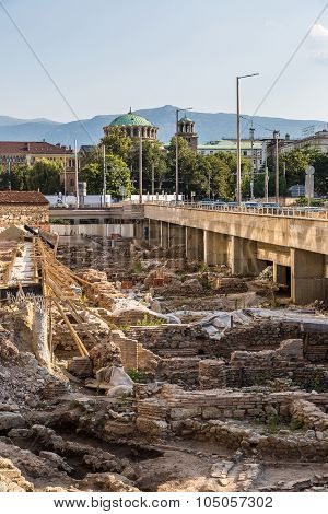Archaeological Excavation Near  Mosque In Sofia