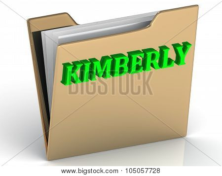 Kimberly- Bright Green Letters On Gold Paperwork Folder