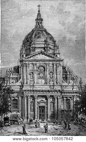 Church of the Sorbonne, vintage engraved illustration. Industrial encyclopedia E.-O. Lami - 1875.