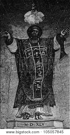 St. Mark of after Titian, executed in mosaic in 1545 by F. and V. Zuccatti in the Cathedral of St. Mark in Venice, vintage engraved illustration. Industrial encyclopedia E.-O. Lami - 1875.