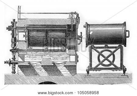 Moving cylinder distillation apparatus used in gunpowder for coal preparation (longitudinal section), vintage engraved illustration. Industrial encyclopedia E.-O. Lami - 1875.