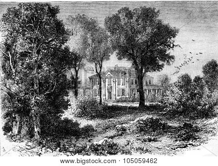 The Longfellow House in Mont Vernon, former residence of Washington, vintage engraved illustration. Magasin Pittoresque 1882.