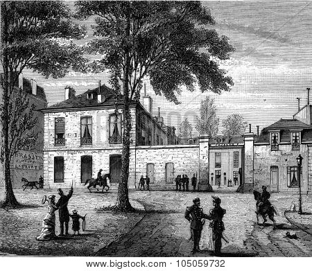 Entrance to the former Hotel des Menus-Plaisirs, or the National Assembly constituent seat in 1789, in Versailles, vintage engraved illustration. Magasin Pittoresque (1882).