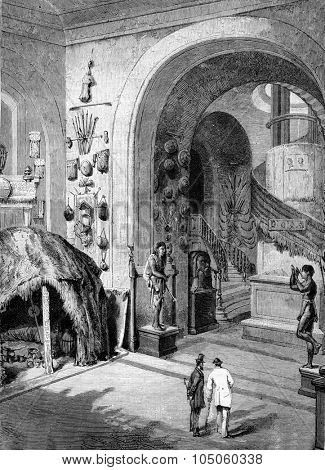 One of the Museum of Ethnography entrance halls, Trocadero, vintage engraved illustration. Magasin Pittoresque 1882.