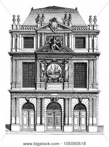Facade of the House of cloth merchants in Paris in the seventeenth century; architect, Bunting, vintage engraved illustration. Magasin Pittoresque (1882).