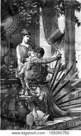 Basketry, vintage engraved illustration. Magasin Pittoresque 1878.