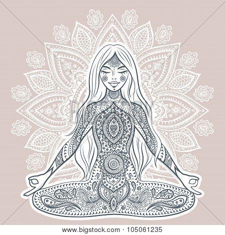Vintage vector illustration with yoga girl. Mediation pose. Mand