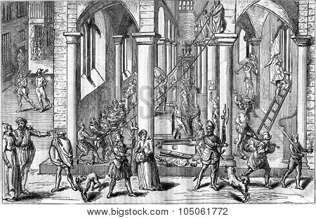 The Iconoclasts in Antwerp in 1566, vintage engraved illustration. Magasin Pittoresque 1877.