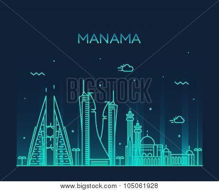 Manama skyline silhouette vector linear style
