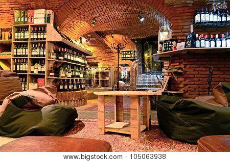 Tbilisi, Georgia - March 5, 2015: Interior Of Wine Cellar Vinoground In Tbilisi, Georgia