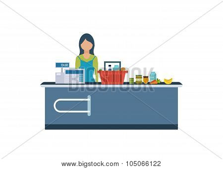 Young cashier woman standing in supermarket.