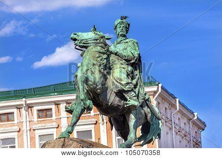 Bogdan Khmelnitsky Equestrian Statue Sofiyskaya Square Kiev Ukraine. Founder of Ukraine Cossack State in 1654. Statue created 1881 by Sculptor Mikhail Mykeshin poster
