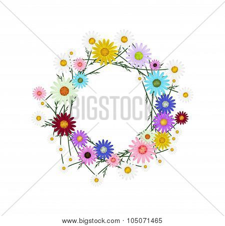 Assorted Colorful of Daisy Wreath on White Background