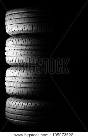 Tyres In Dramatic Lighting