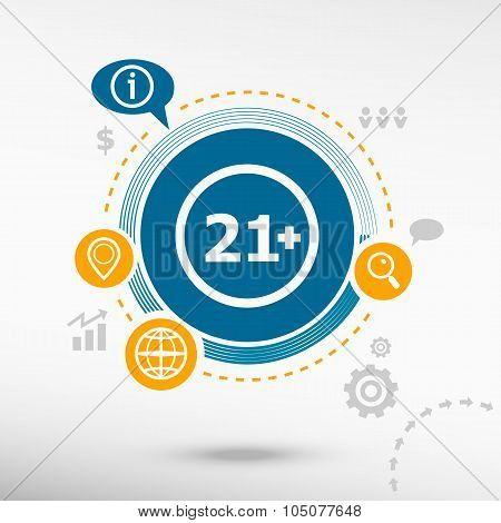 21 Plus Years Old Sign. Adults Content Icon And Creative Design Elements