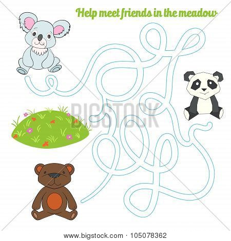 Labyrinth maze find a way panda koala bear