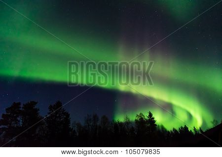 Green And Pink Aurora Borealis On A Starry Sky