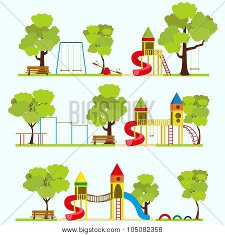 Playground in summer park