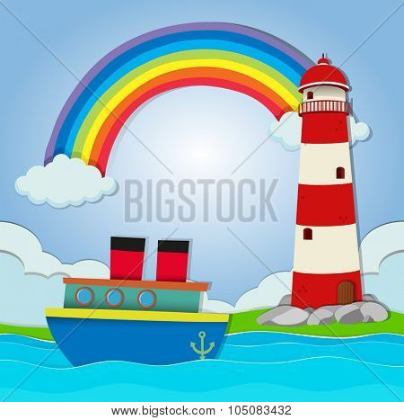 Ship floating in the ocean illustration
