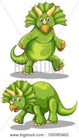 Green dinosaur with sharp horns illustration
