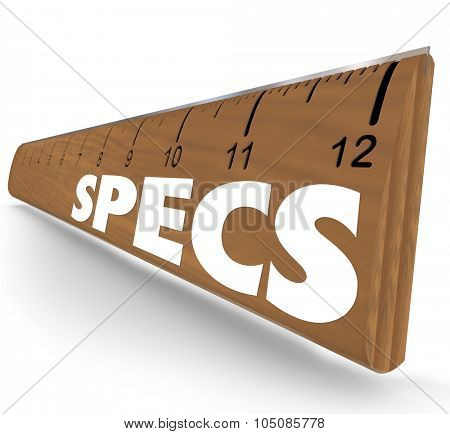 Specs word on 3d wooden ruler to illustrate specifications, guidelines, requirements or instructions you must follow poster