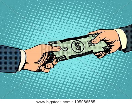 Money buying dollars business concept