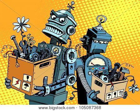 Competition of gadgets and new technologies pop art retro style. Evil robot comes to work. Sad robot retires poster