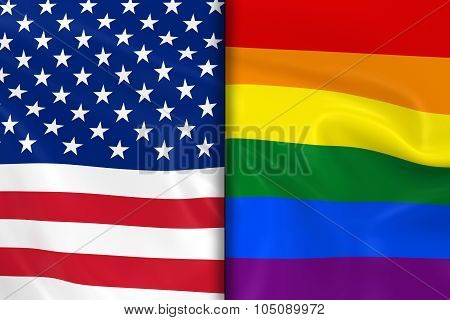 Flags of Gay Pride and the US Split Down the Middle - 3D Render of the Gay Pride Rainbow Flag and the United States of America Flag with Silky Texture poster