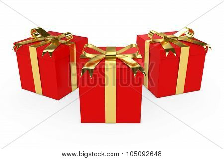 Three Red Christmas Presents With Gold Ribbons Isolated On White