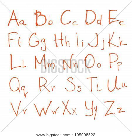 red hand drawn leters of latin alphabet