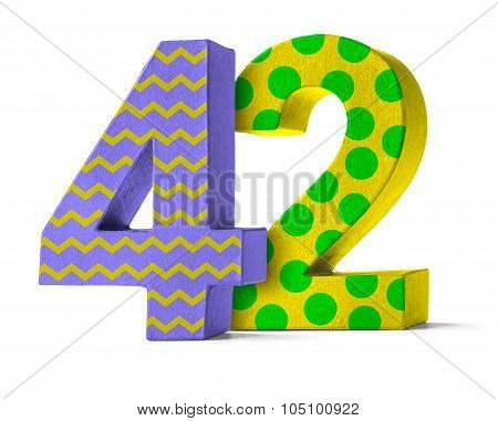 Colorful Paper Mache Number On A White Background  - Number 42