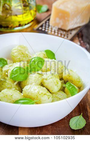 Homemade Gnocchi With Pesto Sauce, Parmesan And Basil
