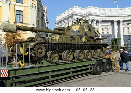 Kiev, Ukraine,  Michael's Square, October 16, 2015. The exhibition of military equipment, on the Day of Defender of Ukraine. 2S3 Akatsya 152-mm self-propelled howitzer