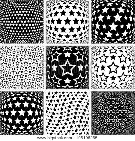 Stars patterns. Design elements set. Vector art.