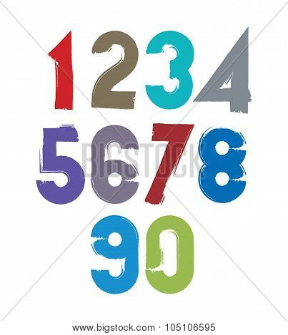 Calligraphic brush numbers hand-painted bright vector numeration. poster
