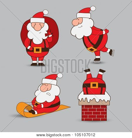 Funny cartoon vector santa claus in different positions