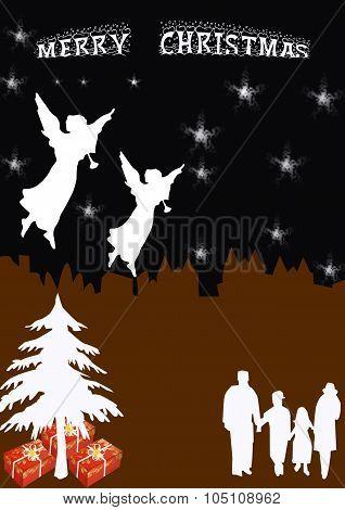 Christmas Cityscape Card Upright