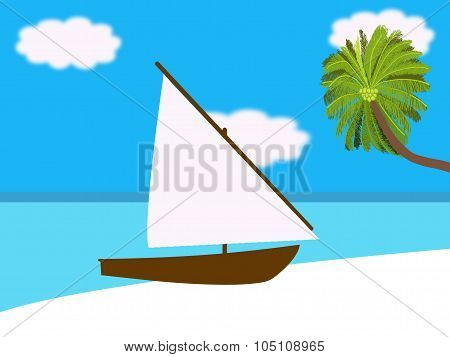Yacht On A Tropical Beach