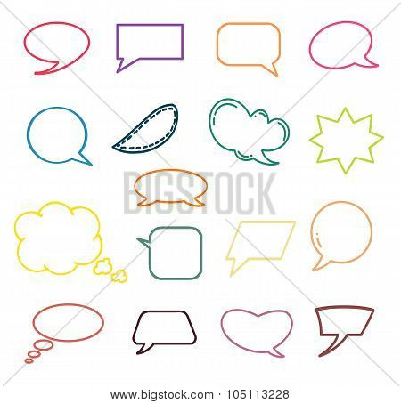 Empty Speech Bubble Colorful Set With Space For Text Esp10.